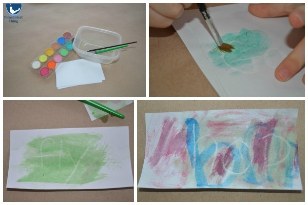 Early reading sight words activity using watercolor paint