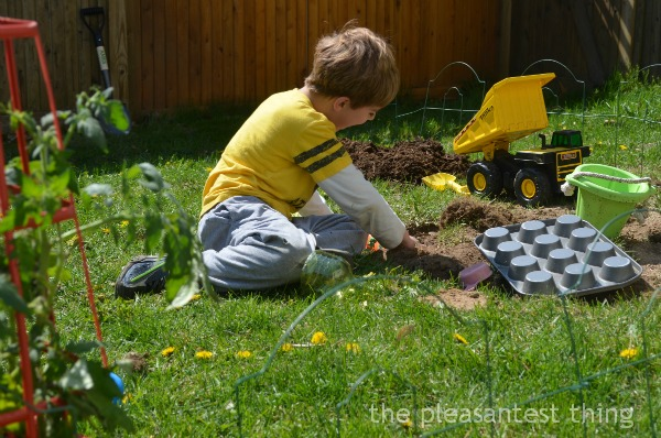 Outdoor digging garden: space for digging, natural loose parts, dirt, and garden