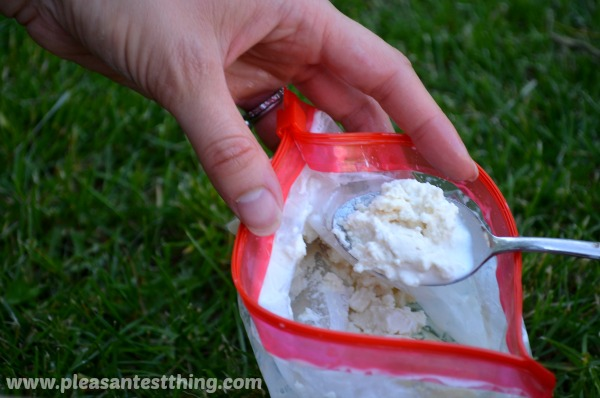 eating ice cream in a bag