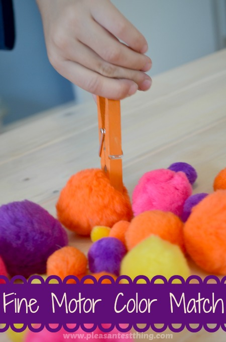fine motor games using clothespins and pompoms