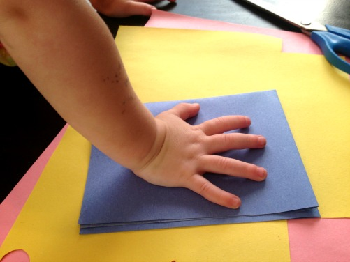 Give a gift of paper flowers, made from your child's handprint