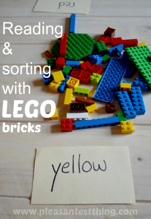 Move & Learn reading and color sorting with LEGO bricks