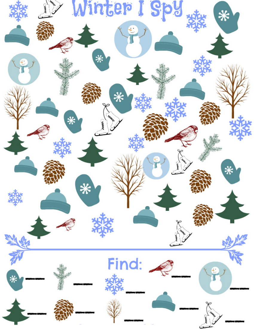 photograph about I Spy Printable titled Winter season I Spy Match