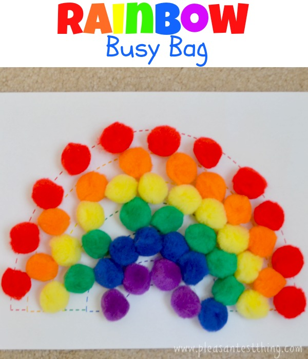 Rainbow busy bag (with free printable rainbow) - fun color and fine motor practice!
