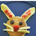 Easy and healthy bunny pancakes! Extra fruit and extra fun!