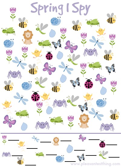 photograph regarding I Spy Printable Worksheets titled I Spy Recreation for Spring