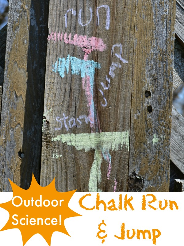 An active outdoor science experiment for kids: Chalk Run and Jump