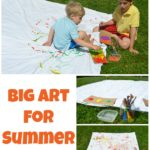 Create BIG ART outside! Summer painting for kids!