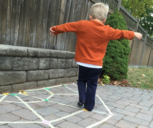 Spider Web Shape Game - fun game to get moving and practice shapes!