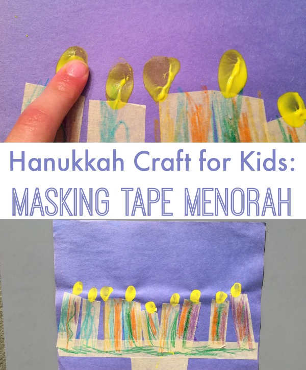 Masking Tape Menorah: easy Hanukkah Craft for Kids