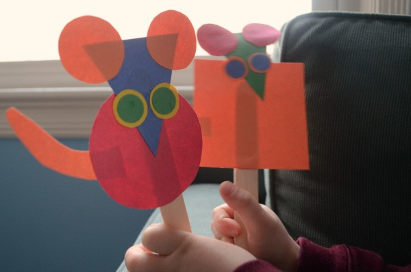 Use shapes to make cute mouse puppets!