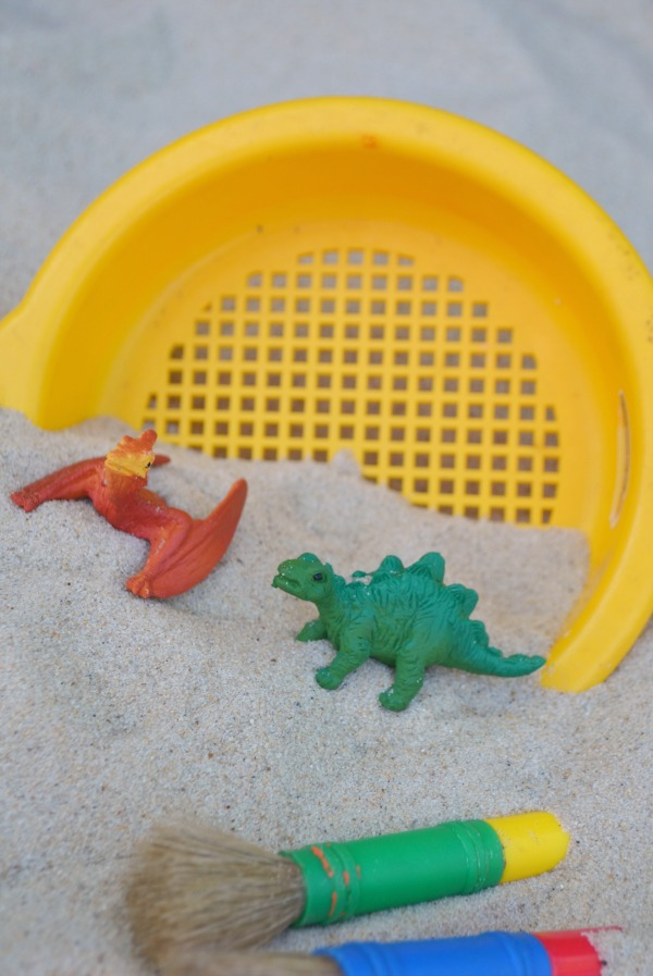 Dinosaur Sand Excavation! And other fun Dinosaur Camp ideas!