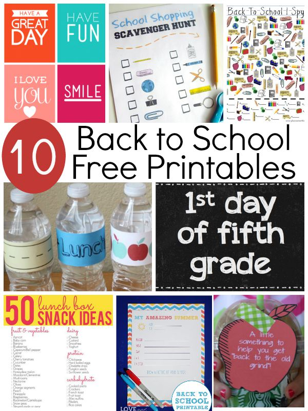 10 Free Printables for Back to School! Signs, notes, lunch ideas, games and memory ideas to start the school year off!
