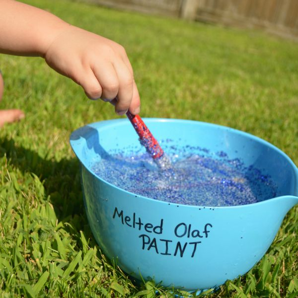 Beat the heat activity for preschoolers - paint with Melted Olaf!