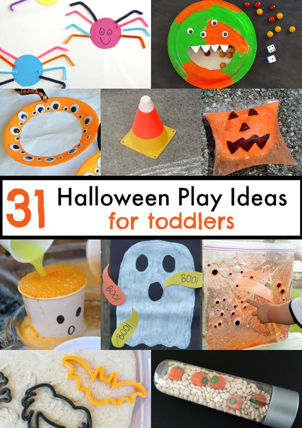 31 Halloween Play ideas for toddlers! Not-so-spooky crafts, Games, and activities with pumpkins, ghosts, monsters, and spiders!