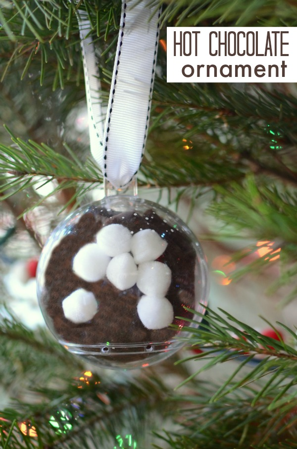 Hot chocolate ornaments - quick and easy kid made ornament for Christmas!