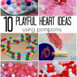 Valentine's Day activities for kids - using pompoms! 10 playful ideas - crafts, sensory play, games, art, and science ideas!