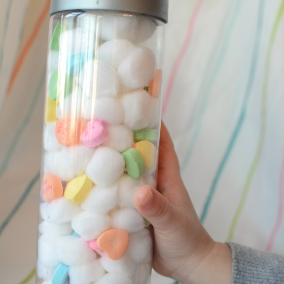 Make a conversation heart sensory bottle for Valentine's Day!