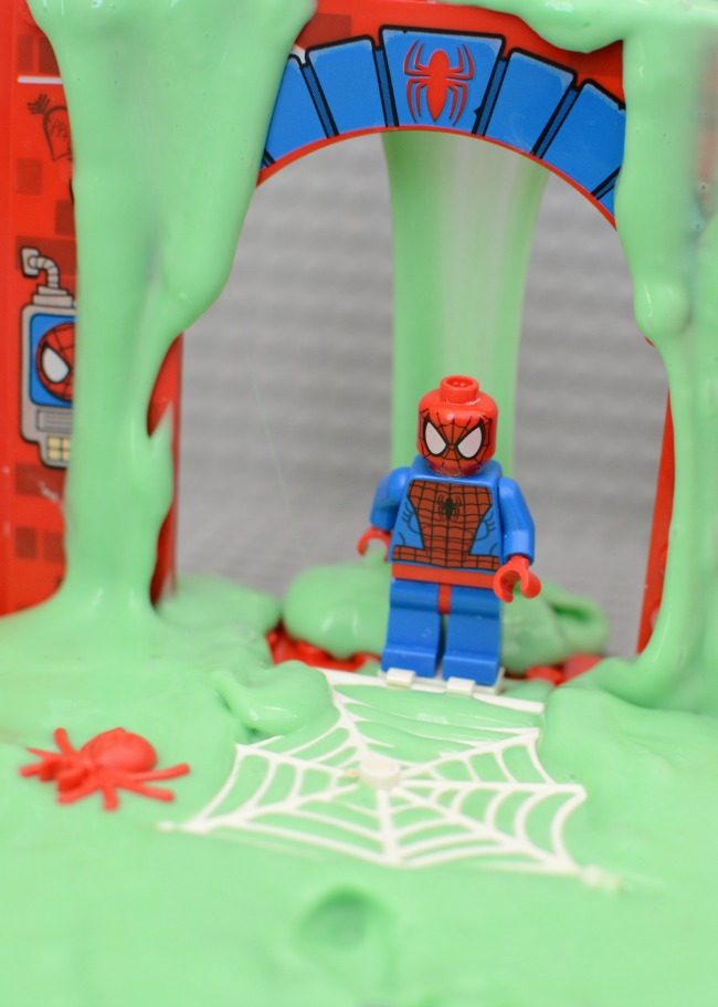 LEGO Superhero slime! Easy recipe for homemade slime with only 3 ingredients! Fun sensory activity for kids!