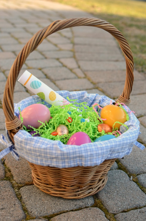 Easter basket fillers - candy, eggs, and a printable I Spy game