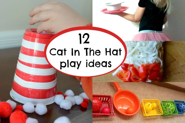 Activities to play along with The Cat In The Hat by Dr. Seuss - fun ways to add name recognition, sensory play, cooking, science, numbers, shapes, and name recognition!