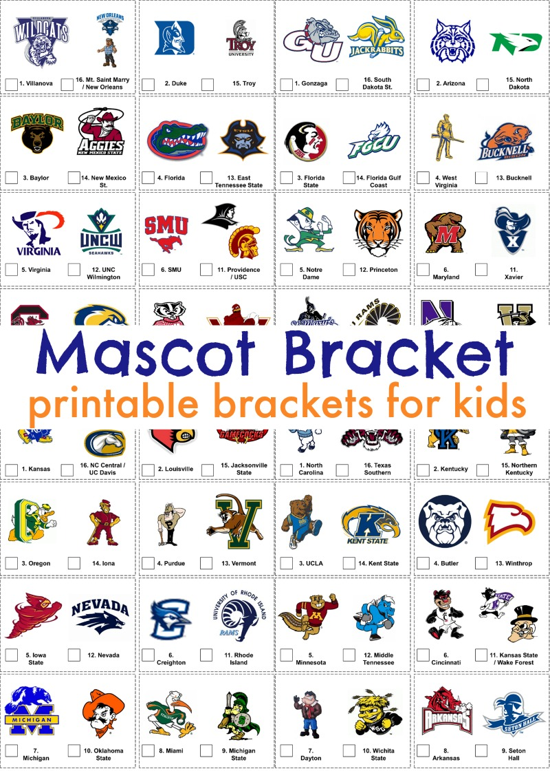 Printable March Madness bracket for kids. Fun way to get the whole family excited about watching the college basketball tournament!