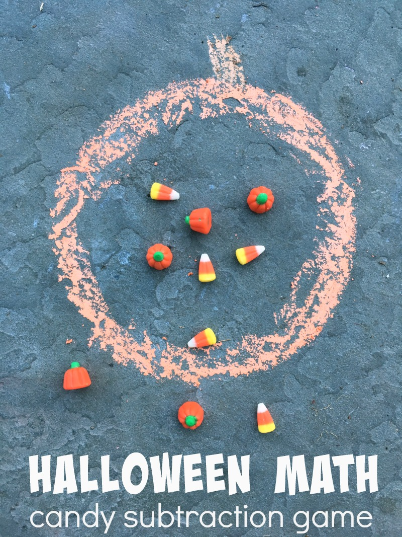 Halloween subtraction game -- fun way to learn with your Halloween candy!!