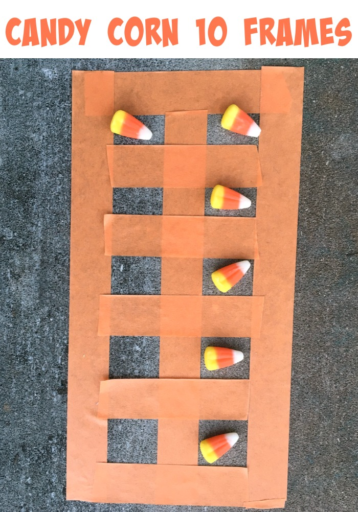 Fun Halloween math idea- make a candy corn ten frame! Fun manipulative for addition and subtraction practice!