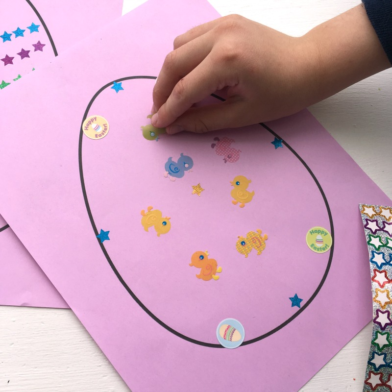 Decorate a sticker Easter egg - a super simple Easter craft kids will love!