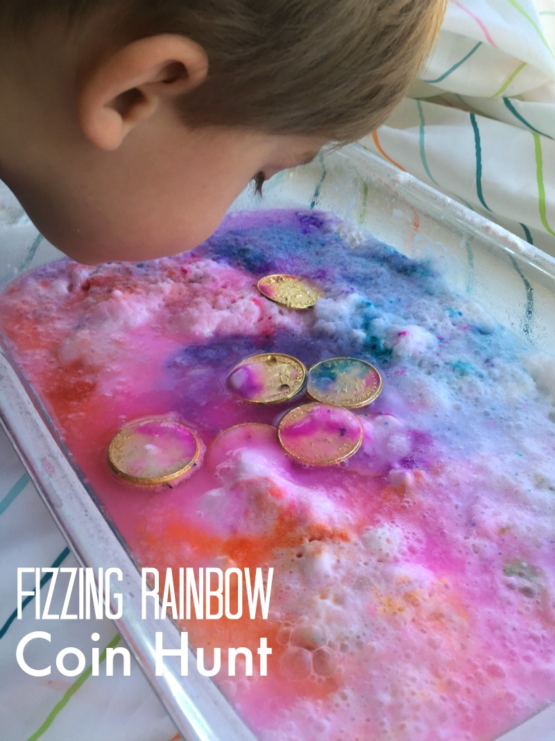 Simple St. Patrick's Day science activity for kids - a fizzing rainbow coin hunt!