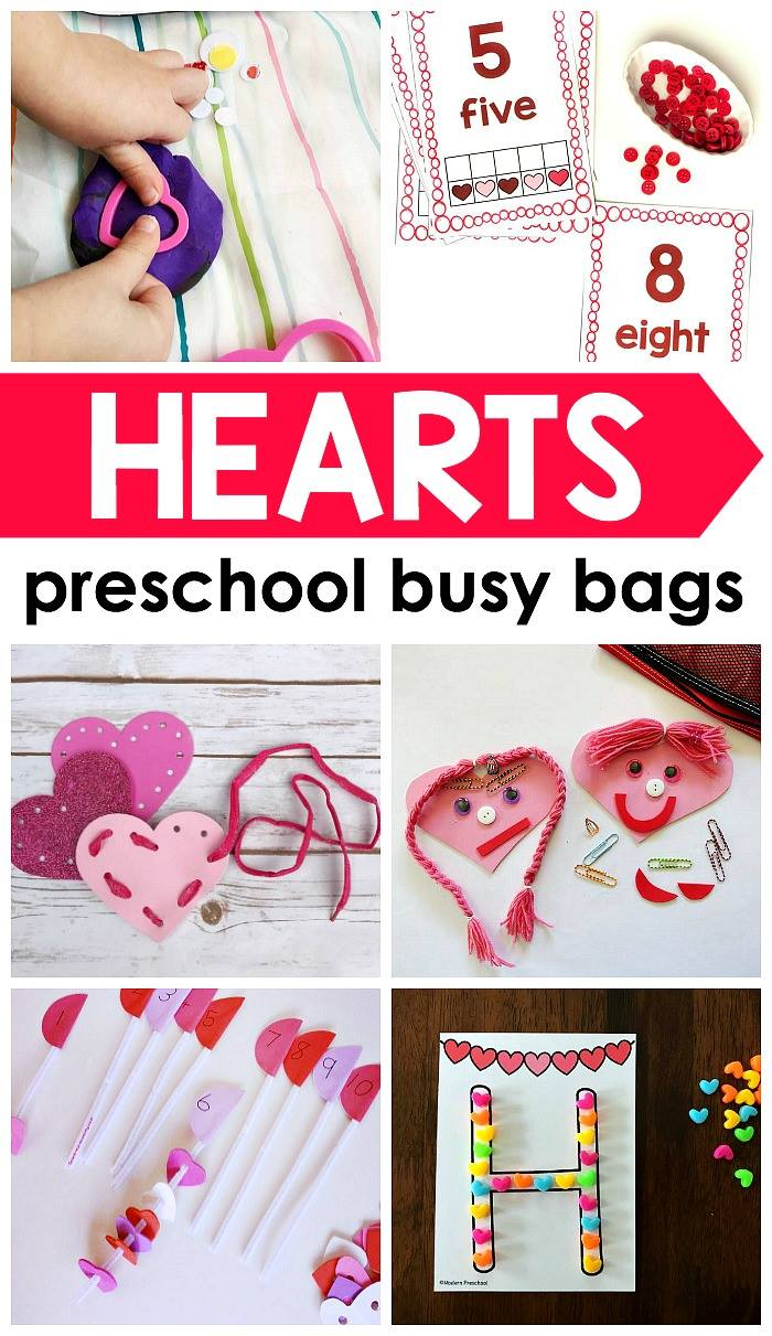 Heart busy bag for preschoolers - perfect ideas for Valentine's Day!